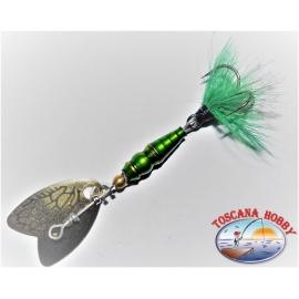 Cuchara Mepps Mariposa de Rotación de Medición 00 de Color verde/oro.FC.R181