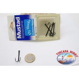 1 boîte de 5 pièces Ami double Mustad cod. 80525BL, pas.4, acier au carbone crochets,FC.D5B