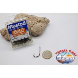 1 boîte de 50 pcs Mustad cod.92661 n.1/0, l'eau Salée, crochets FC.B99A