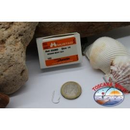 1 box 100 stk. angelhaken Mustad, cod.2339D, nr. 14 Round bent sea hooks, FC.B129A