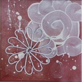 La peinture d'une fleur blanche sur un fond rouge taille 30x30.QR9. QR9