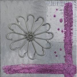 La peinture de fleurs à paillettes argent fuchsia, taille 30x30. QR10