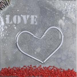 Quadro cuore bianco love dimensioni 40x40. QR11