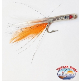 Bait hand-Crafted with Love steel, filaments and feathers 9 cm. about. FC.R256