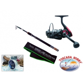 Canna ALCEDO Green Line Tele Spin 2105. Measuring 2,10 + Reel DLT 2500FD.FC.ca41-m33-f45