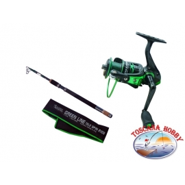 Canna ALCEDO de la Línea Verde de Spin de Tele 2105 2.10 m + Carrete Allux 2500, la Línea Verde Plus.FC.ca41-m69